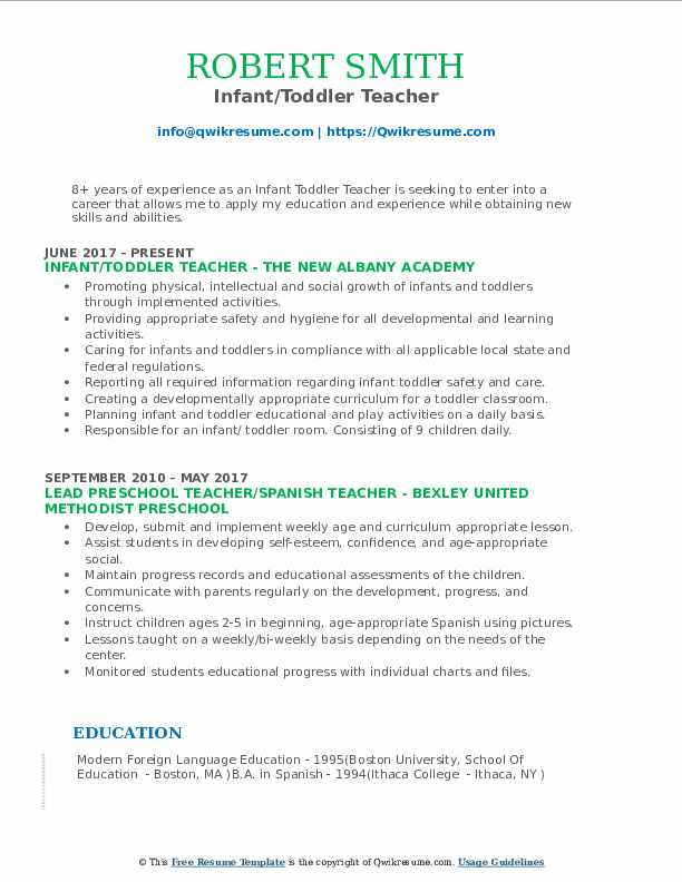 Infant Toddler Developmental Guidelines Infant Toddler Teacher Resume Samples Qwikresume