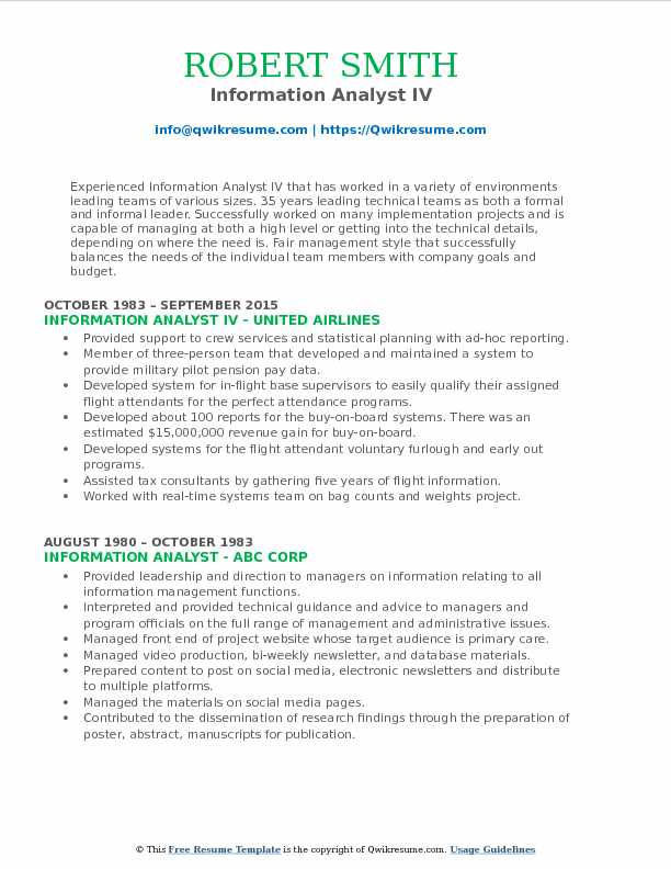 Information Analyst Resume Samples QwikResume