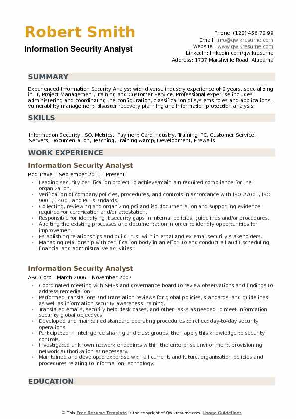 Information Security Analyst Resume Samples QwikResume