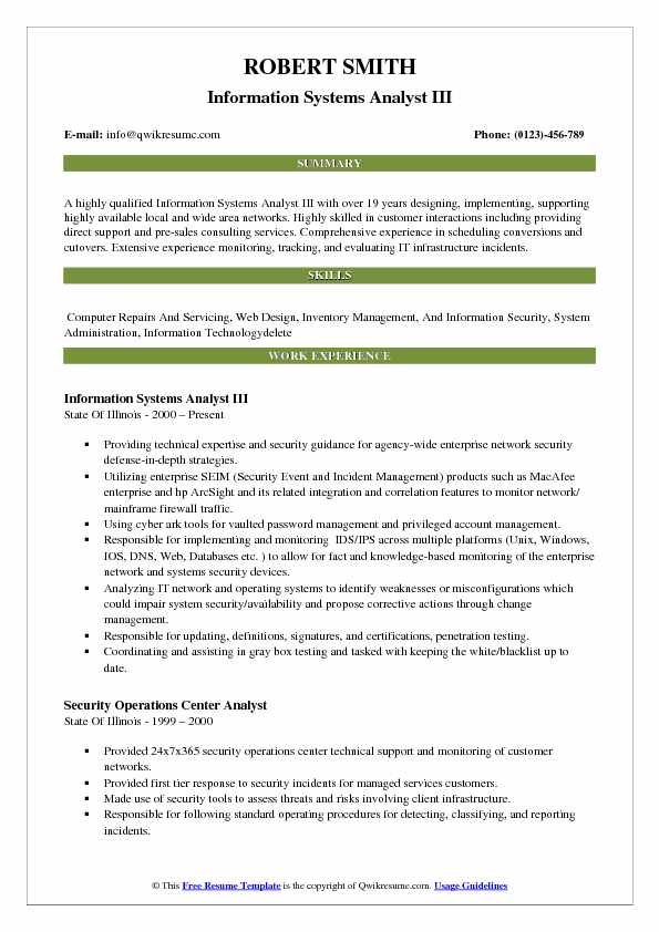 Information Systems Analyst Resume Samples QwikResume