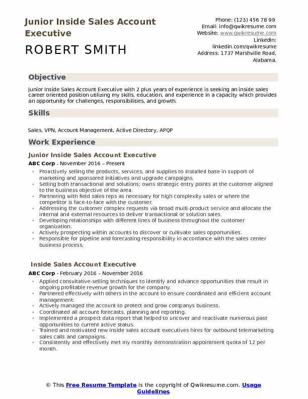 Inside Sales Account Executive Resume Samples QwikResume