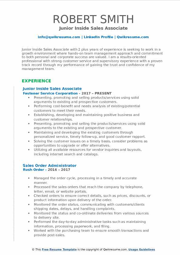 Inside Sales Associate Resume Samples QwikResume
