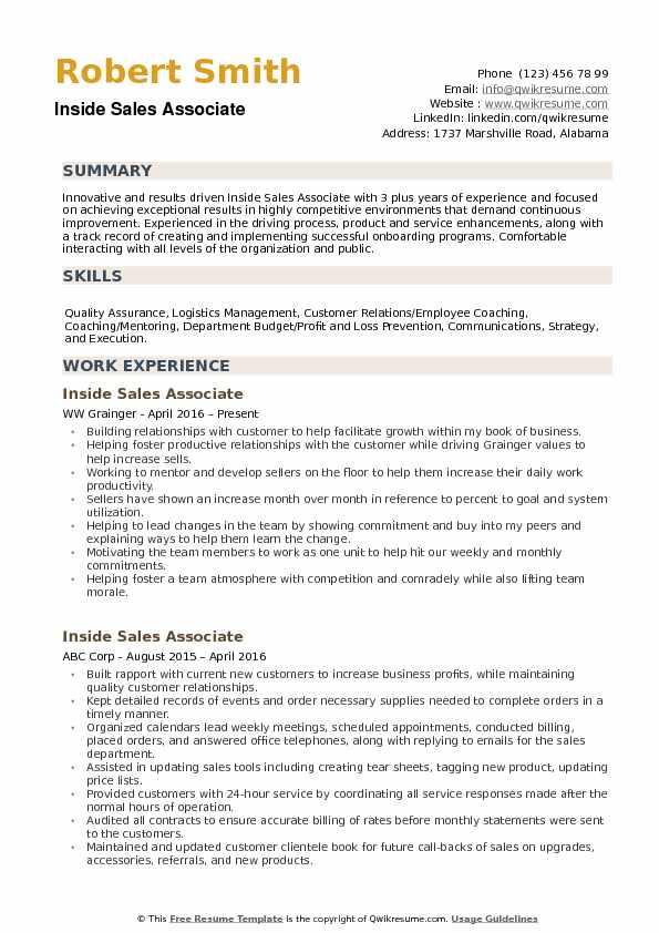 Inside Sales Associate Resume Samples QwikResume