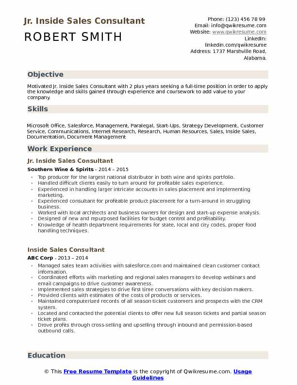 Inside Sales Consultant Resume Samples QwikResume