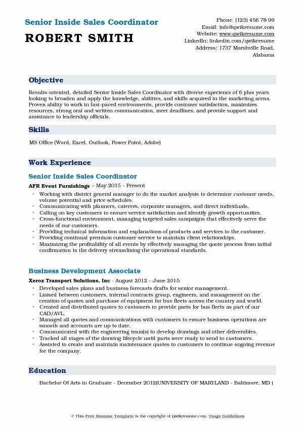 Inside Sales Coordinator Resume Samples QwikResume