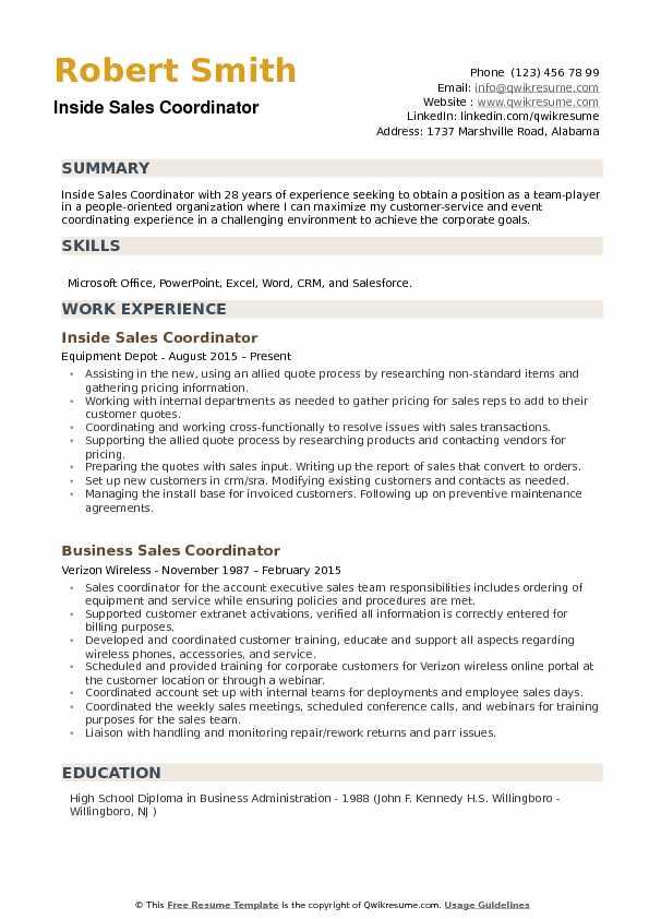 Resume Sales Coordinator Position - Sales Coordinator Resume