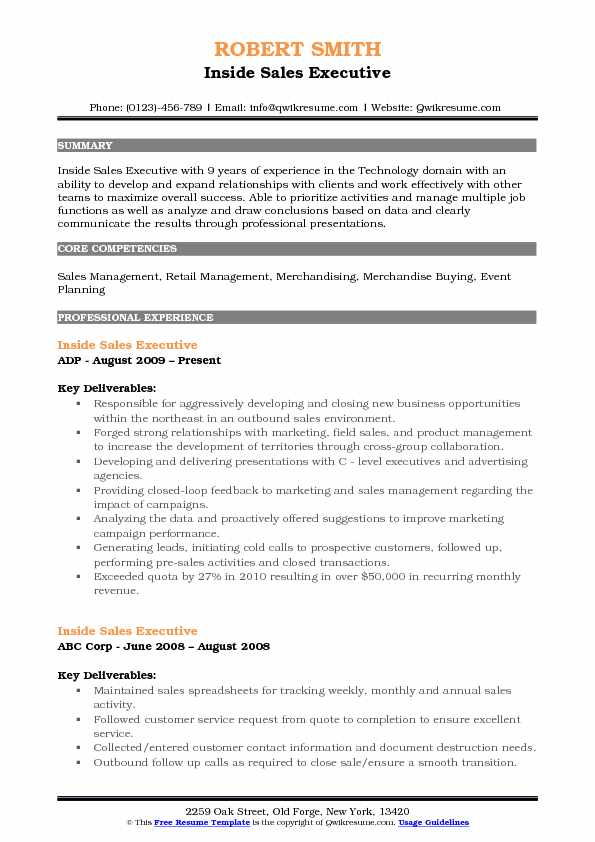 Inside Sales Executive Resume Samples QwikResume
