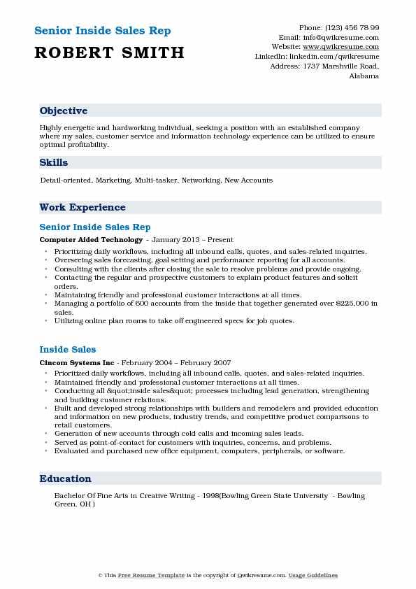 inside sales rep resume