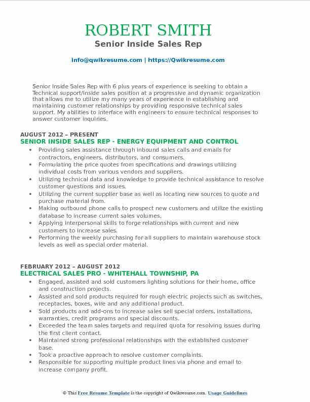 inside sales rep resume samples