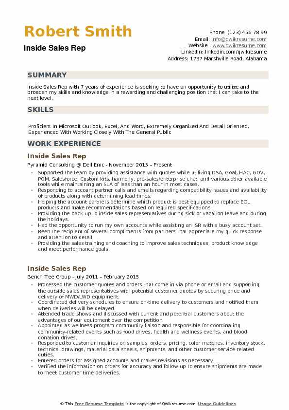 Inside Sales Rep Resume Samples QwikResume