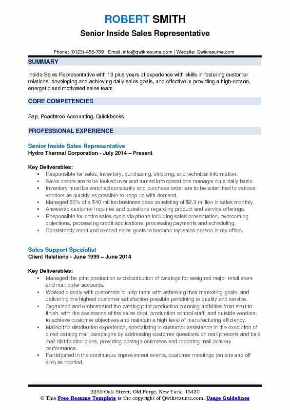 Inside Sales Representative Resume Samples QwikResume