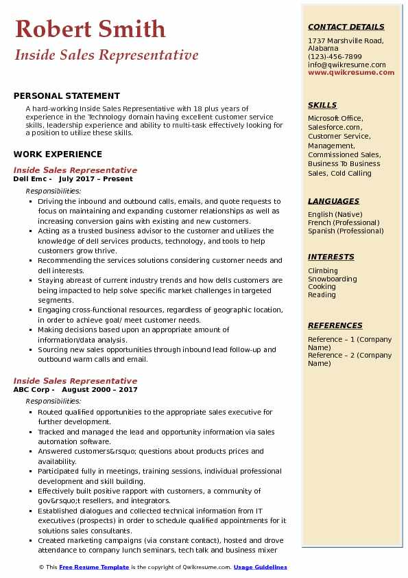 Inside Sales Representative Resume Samples QwikResume
