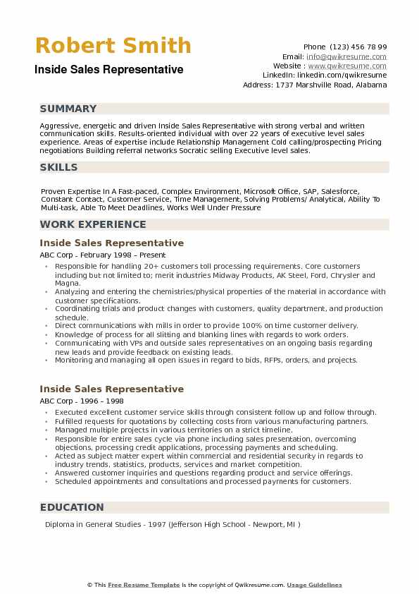 Inside Sales Representative Resume Samples QwikResume - inside sales representative resume sample