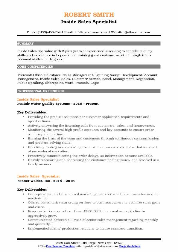 Inside Sales Specialist Resume Samples QwikResume