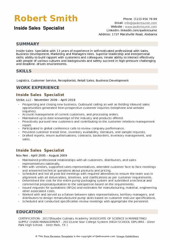Inside Sales Specialist Resume Samples QwikResume