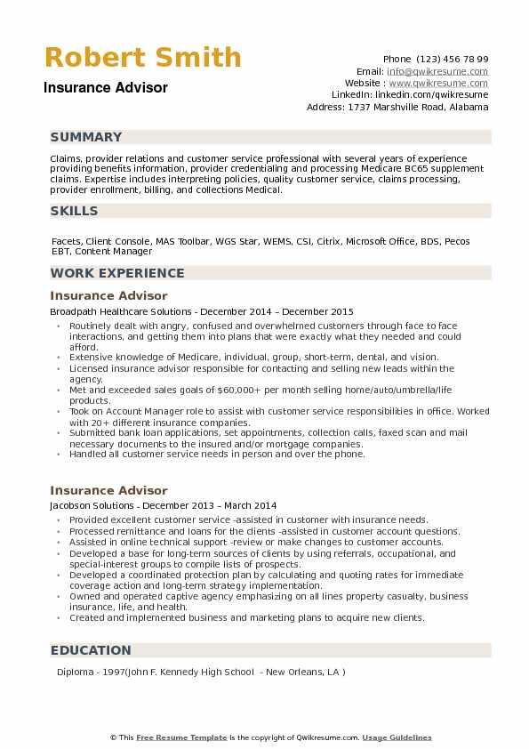 Insurance Advisor Resume Samples QwikResume - insurance advisor sample resume