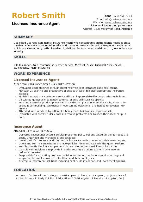 Insurance Agent Resume Samples QwikResume