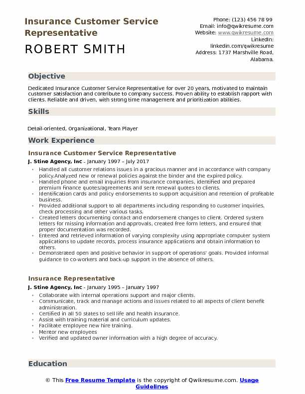 Insurance Customer Service Representative Resume Samples QwikResume - customer service resume template free