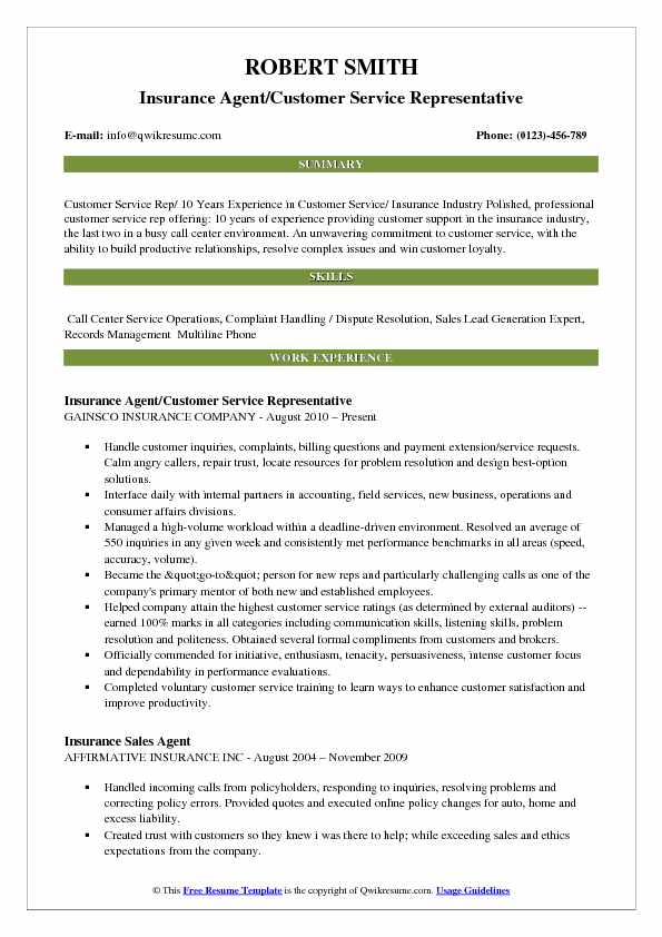 resume samples for insurance underwriters