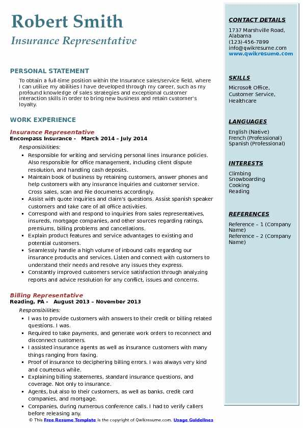 Insurance Customer Service Representative Resume Samples QwikResume