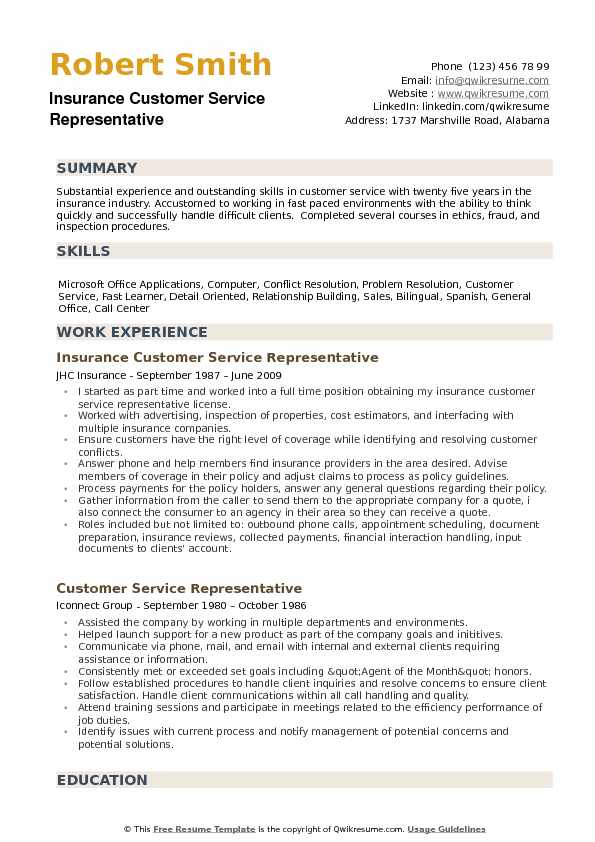 Insurance Customer Service Representative Resume Samples QwikResume - experience summary resume