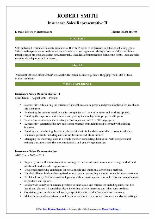 Insurance Sales Representative Resume Samples QwikResume