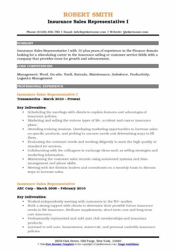 Insurance Sales Representative Resume Samples QwikResume - insurance sales agent sample resume