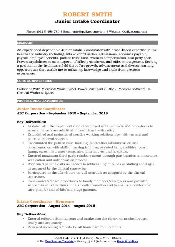 authorization coordinator resume samples