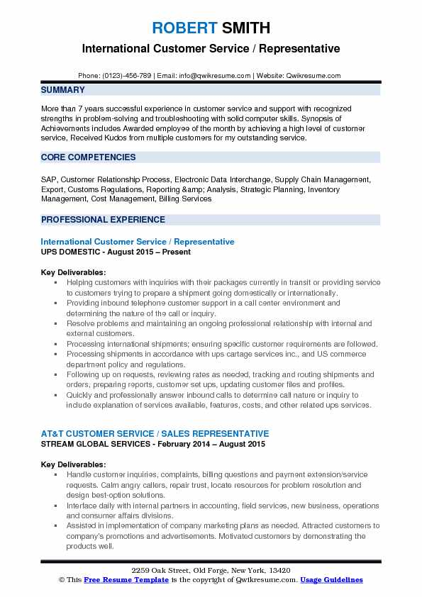 International Customer Service Representative Resume Samples - international experience resume