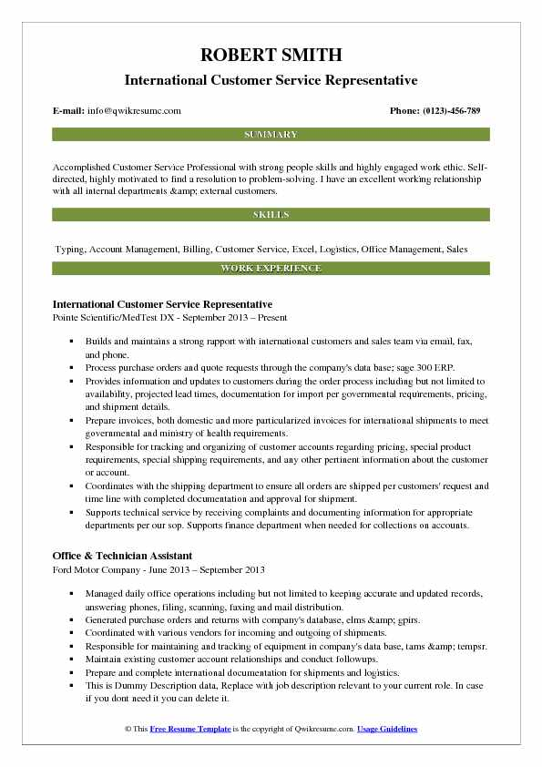 professional customer service resume examples