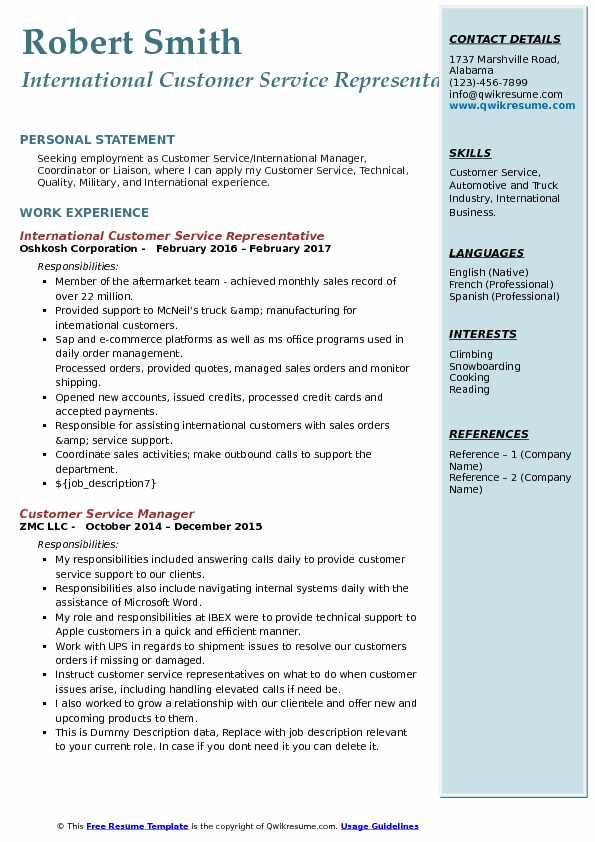 International Customer Service Representative Resume Samples - International Business Resume