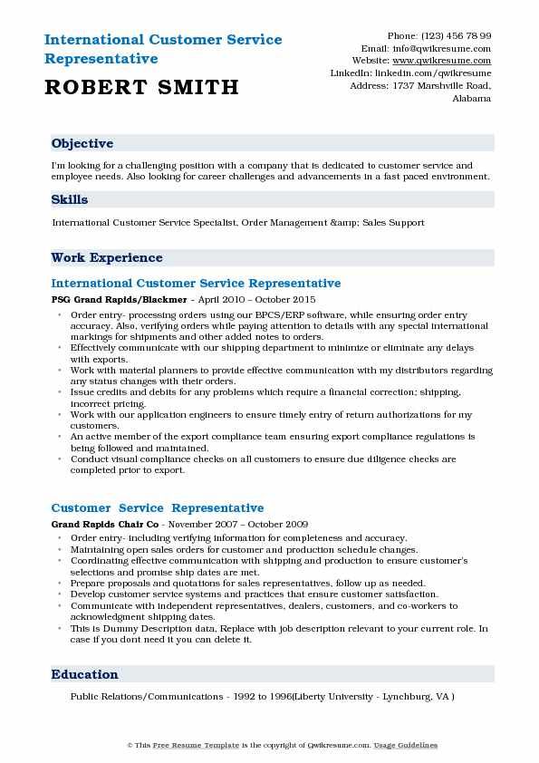 International Customer Service Representative Resume Samples