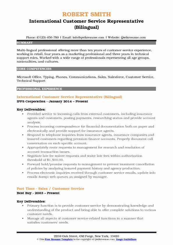 International Customer Service Representative Resume Samples - International Experience Resume