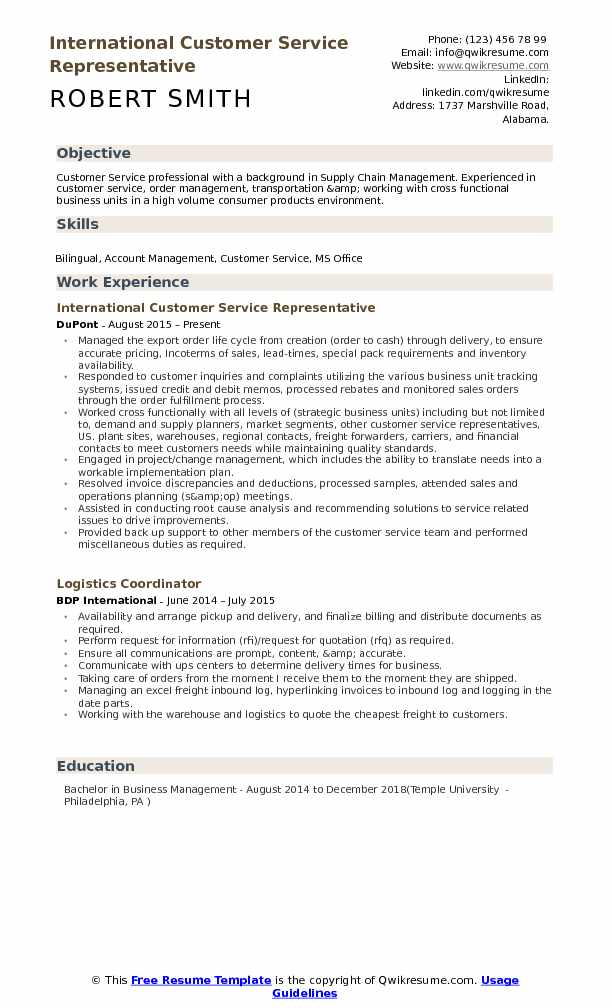 International Customer Service Representative Resume Samples