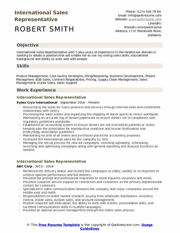 International Sales Representative Resume Samples QwikResume