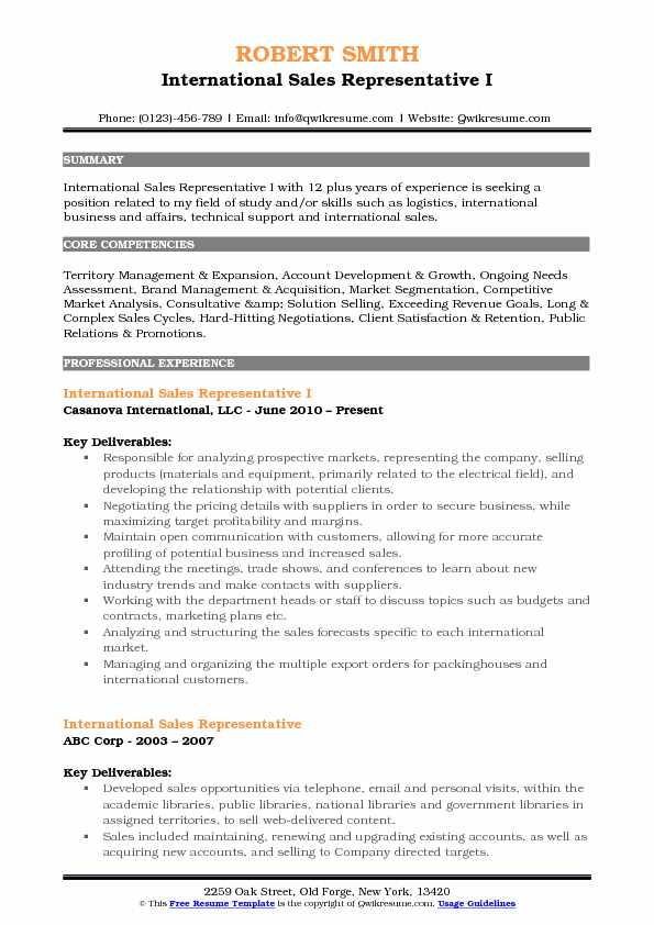 International Sales Representative Resume Samples QwikResume - international sales representative sample resume