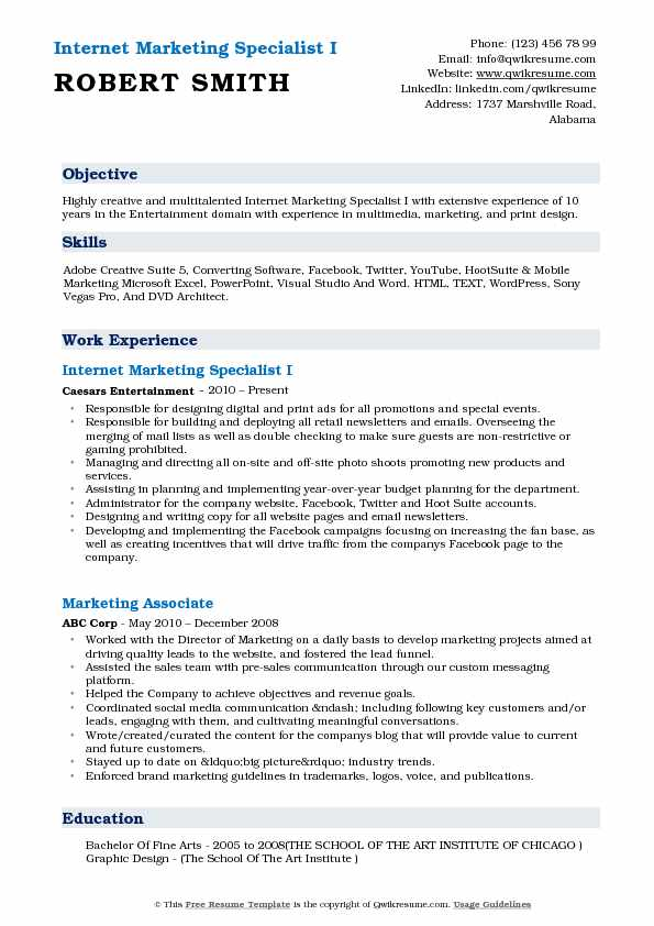 Internet Marketing Specialist Resume Samples QwikResume