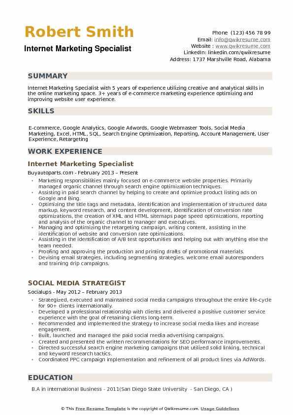 Internet Marketing Specialist Resume Samples QwikResume