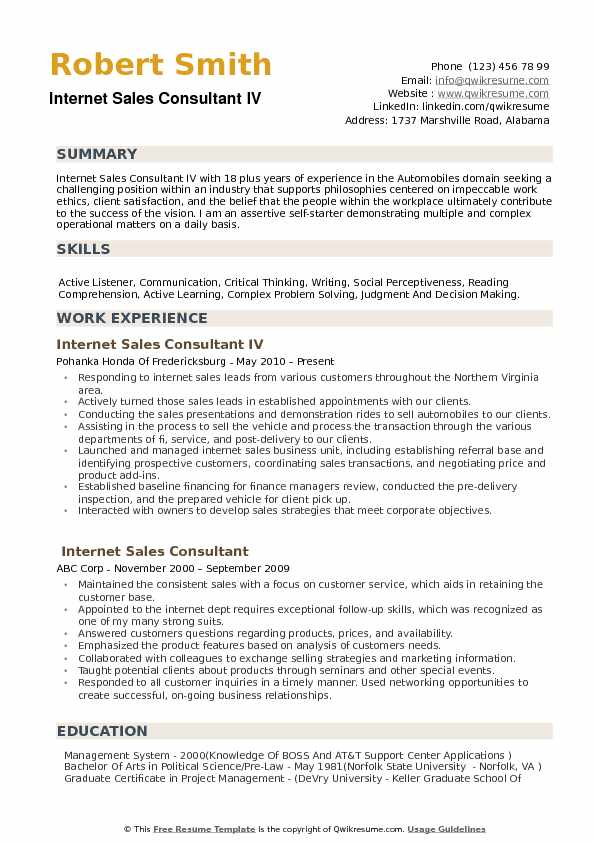 Internet Sales Consultant Resume Samples QwikResume
