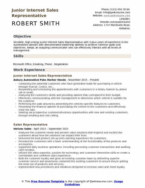 Internet Sales Representative Resume Samples QwikResume