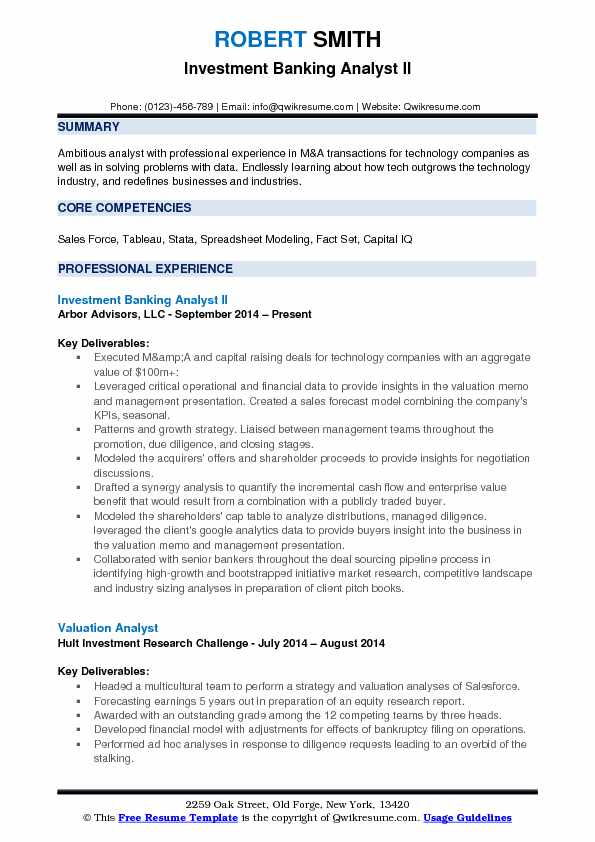 investment banking analyst resume example sample