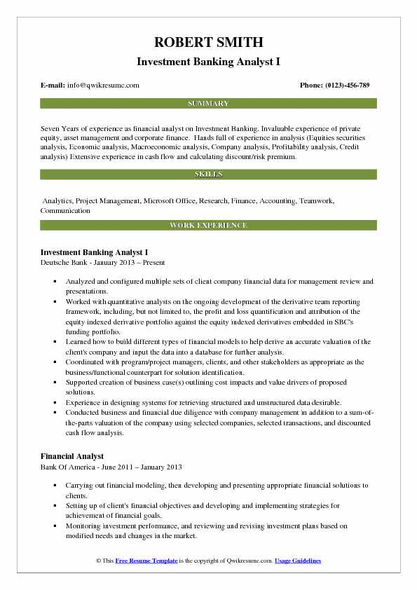 Investment Analysis Sample Vertical Analysis Financial Statement - investment banking analyst sample resume