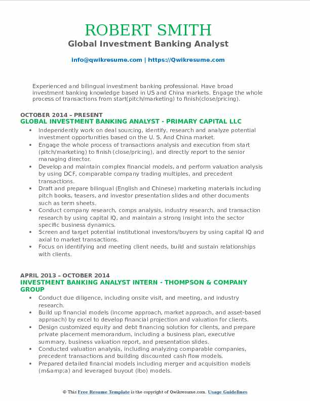 Investment Banking Analyst Resume Samples QwikResume - investment banking analyst resume