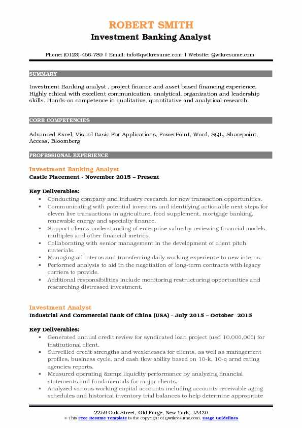 Investment Banking Analyst Resume investment banking analyst resume - Investment Analyst Resume