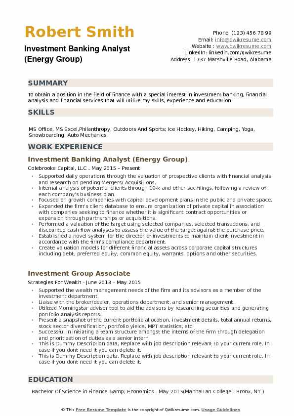 Investment Banking Analyst Resume Samples QwikResume - group resume template
