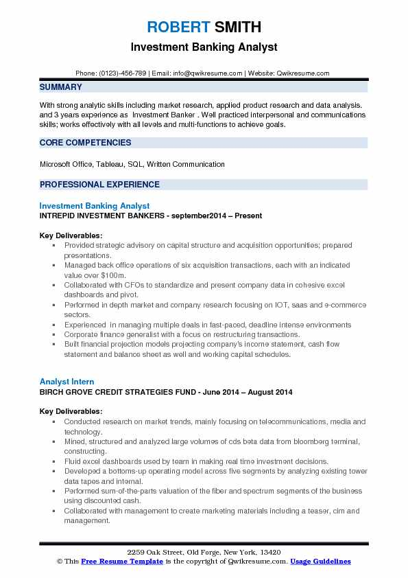 Investment Banking Analyst Resume Samples QwikResume - Investment Analyst Resume