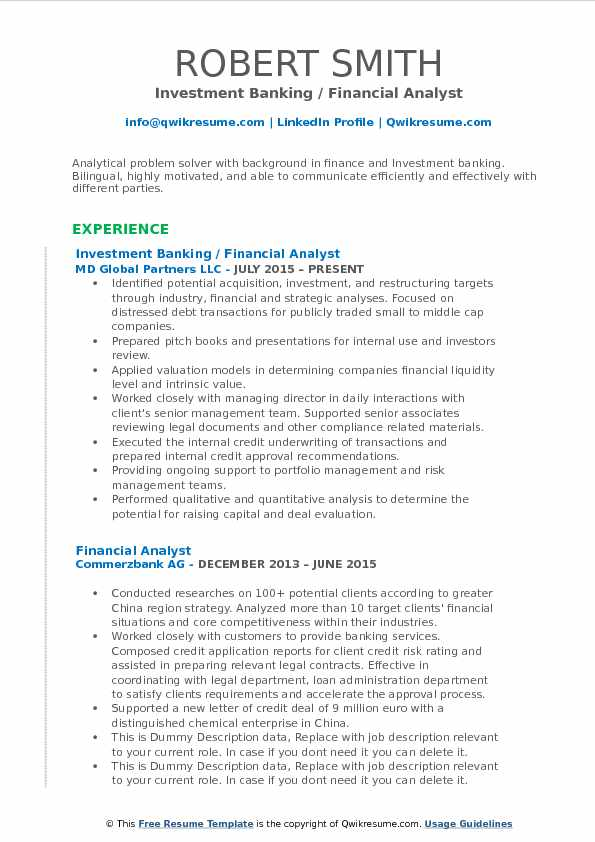 sample resume in banking and finance