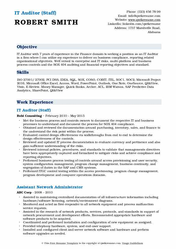 IT Auditor Resume Samples QwikResume
