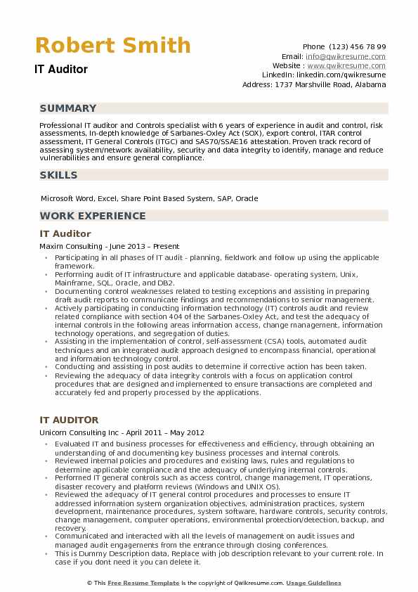 IT Auditor Resume Samples QwikResume - auditor resume examples