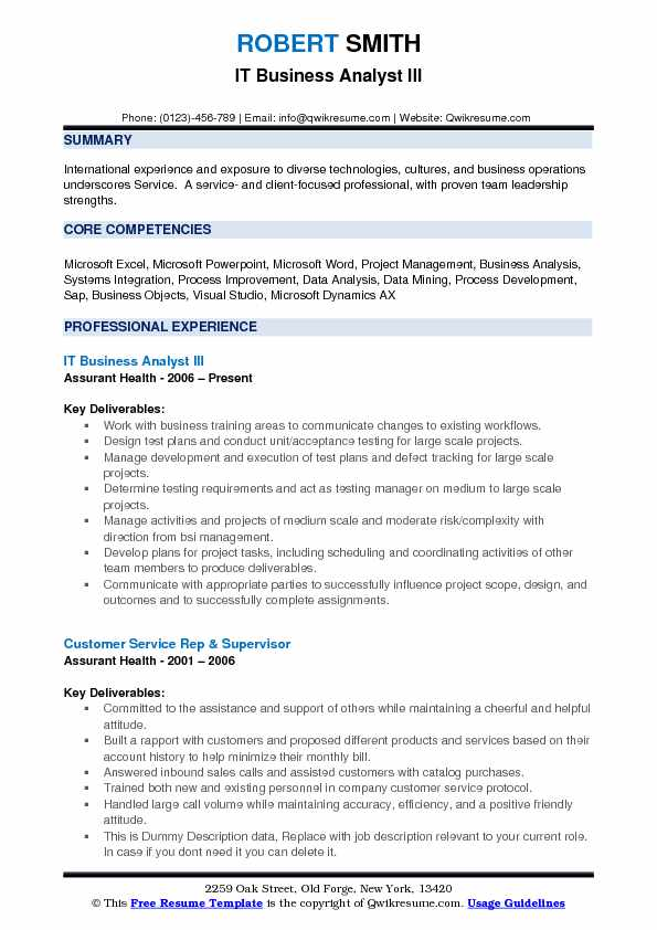 IT Business Analyst Resume Samples QwikResume - International Experience Resume